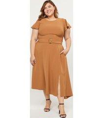 lane bryant women's lena dress with tortoise-print belt-buckle 14 caramel latte