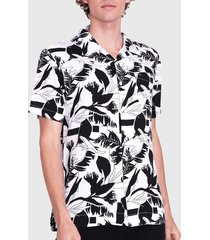 camisa ellus guayabera full print flowers blanco/ negro - calce regular