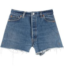 re/done shorts in levis denim