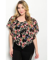 romantic dressy black pink floral lined chiffon plus party club tunic top xl-3xl