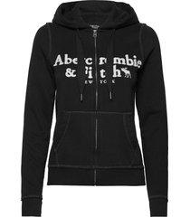 anf womens sweatshirts hoodie svart abercrombie & fitch