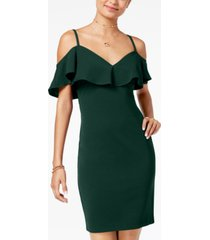 emerald sundae juniors' cold-shoulder bodycon dress