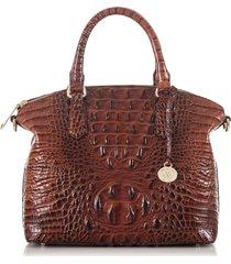 brahmin duxbury croc embossed leather satchel - brown