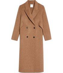 women's sandro double breasted wool blend coat, size 4 us - beige