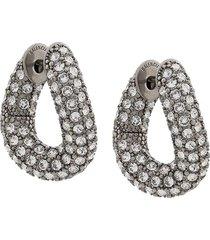 silver-tone embellished loop earrings