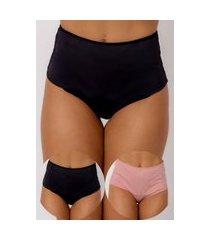 kit 2 calcinhas modeladoras confidente cinta sustentação preta/rosa