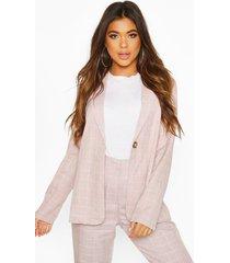 grid flannel belted blazer, pink