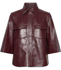 lamb leather långärmad skjorta röd ganni