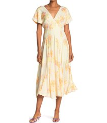 women's free people laura floral maxi dress, size large - ivory