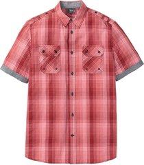 rutig kortärmad skjorta med bekvämt snitt