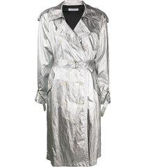 philosophy di lorenzo serafini trench coat com abotoamento duplo - prateado