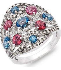 14k vanilla gold®, deep sea blue topaz™, raspberry rhodolite®, vanilla & chocolate diamonds® cocktail ring