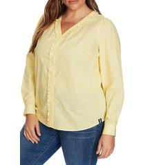 plus size women's court & rowe ruffle trim stripe blouse, size 1x - yellow