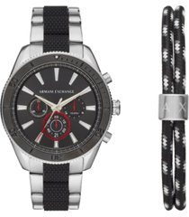 ax armani exchange men's chronograph enzo two-tone stainless steel bracelet watch 44mm gift set
