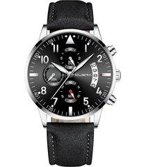 reloj ultradelgado hombre lujo cuero cuena 1208 negro