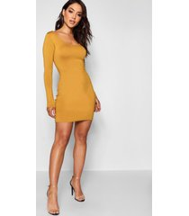 long sleeve scoop neck bodycon dress, mustard