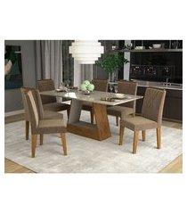 conjunto de mesa de jantar retangular alana com vidro e 6 cadeiras nicole suede pluma e off white