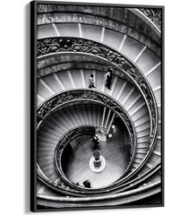 quadro 90x60cm arquitetura escadaria museu vaticano canvas moldura flutuante preta - multicolorido - dafiti