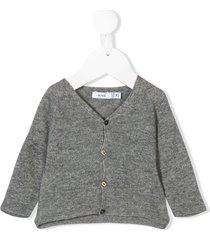 knot raglan sleeve basic cardigan - grey