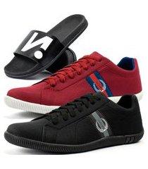 kit 2 pares de sapatênis casual dhl masculino + chinelo slide vermelho