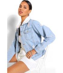 distressed borg collar jean jacket, light blue