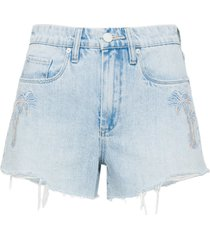 women's blanknyc palm tree embroidered high waist denim shorts, size 29 - blue