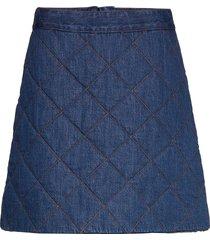 quilted denim kort kjol blå ganni