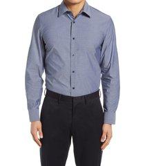 men's nordstrom tech-smart trim fit dobby performance button-up shirt, size x-large - blue
