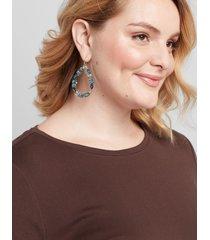 lane bryant women's faceted stone teardrop earrings onesz moody jade