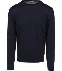 fedeli man round neck pullover in navy blue wool