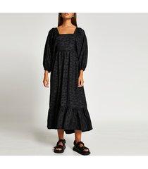 river island womens black exaggerated sleeve shirred maxi dress
