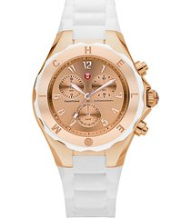 tahitian jelly bean rose goldtone stainless steel & silicone chronograph bracelet watch/white