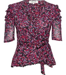 angela blouses short-sleeved röd diane von furstenberg