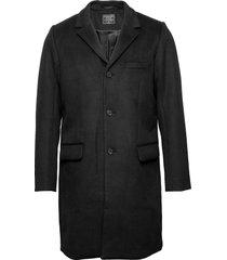 wool topcoat wollen jas lange jas zwart abercrombie & fitch