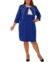 ny collection women's plus size 3/4 sleeve jacket and dress