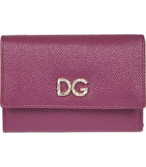 dolce & gabbana logo embellished continental wallet