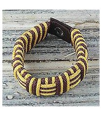cord bracelet, 'brown and yellow kente power' (ghana)