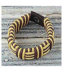 cord bracelet, 'brown and yellow kente power' (ghana)