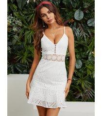 mini inserto de encaje blanco de talle alto vestido