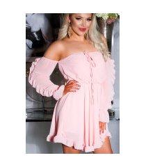 sexy off-shoulder babydoll jurk roze