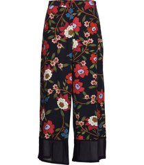 eloise drape 2 printd culottes wijde broek blauw french connection