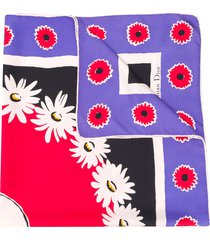 christian dior 1990's pre-owned floral print scarf - purple, red,