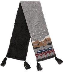 familiar intarsia knit wool-blend scarf - grey