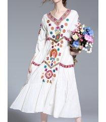 donna boho vintage maxi-abito bianco sciolto in ricamo