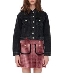 women's maje denim trucker jacket, size 8 us - grey