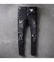 2017 hi-q men classic jeans knee drape panel moto biker jeans size 28-38 (975)