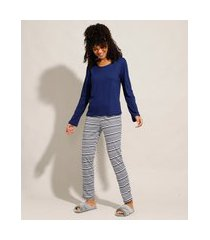 pijama manga longa com listras azul marinho