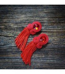etniczne klipsy soutache z frędzlami- czerwone
