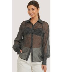 na-kd trend balloon sleeve structured rose blouse - black