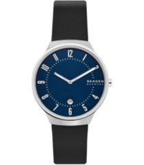 skagen men's grenen stainless steel black leather blue dial watch 38mm